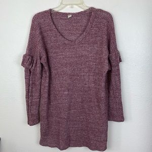 Lazy Sundays Knit Lightweight Sweater Lined Ruffle